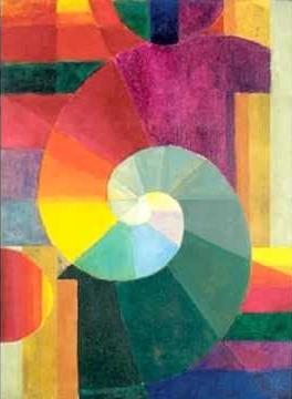 Mødet' (The Encounter) malet af den Mazdaznan-inspirerede Dr Itten fra Bauhaus bevægelsen 1918.